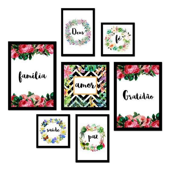 7 Placas Decorativas Tamanhos Diferentes Quadros Amor Paz Fé