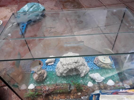 Aquario Ornamentado 32 L Vidro Seminoacompanha Compressor Ar