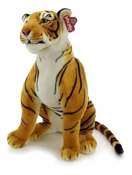 Tigre De Peluche Animal Gigante Sentado 2 Colores 87 Cm