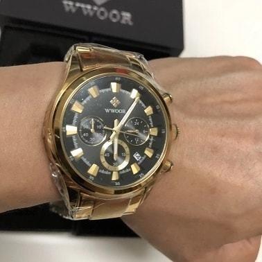 Relógio Dourado Original Wwoor 8857