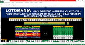 Planilha Lotomania Com 70 Dezenas 100% Garantido 18 Pontos