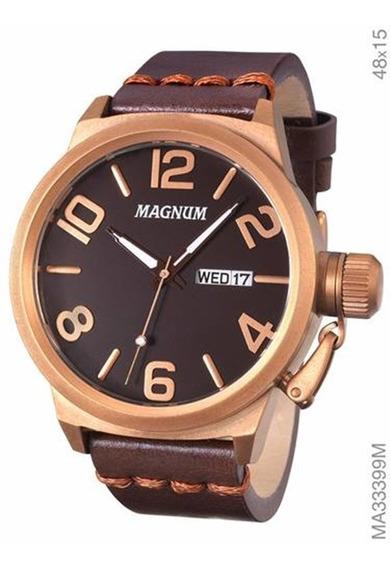 Relógio Magnum Masculino Marrom Couro Ma33399m