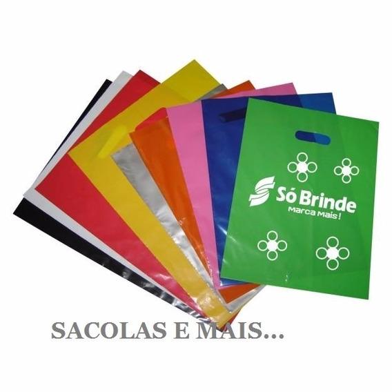 Sacolas Plásticas Personalizada 30x40 500 Un Estampa 2 Lados