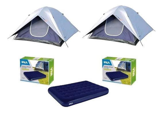 Kit 2 Barracas Camping Luna 4 Pessoas Mor + 2 Colchão Casal