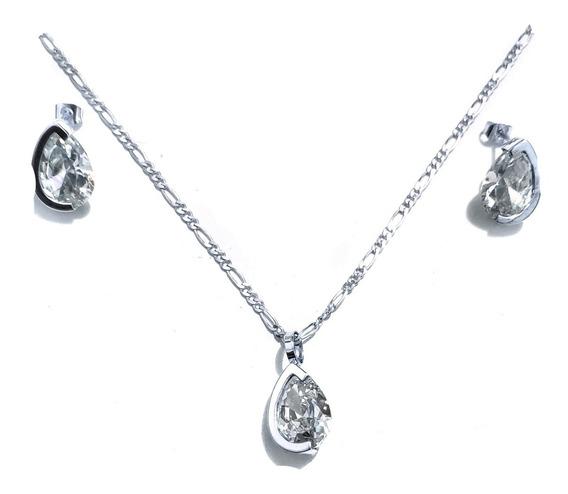 Collar Dije Aretes Swarovski Incluye Cadena 100% Plata 925