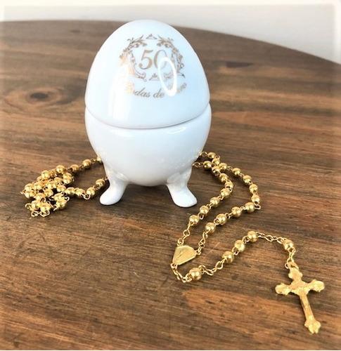 Imagem 1 de 4 de Porta-jóia E Terço Aparecida Bodas D Ouro 50 Anos Casamento
