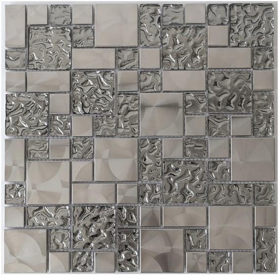 Mosaico de Vidrio y M/ármol en Malla DEC-47082ANX384 Plata 8 mm 30 x 30 cm