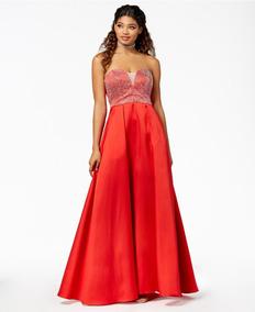 Vestido Largo Junior Strapless Rojo C/cristales Talla 5