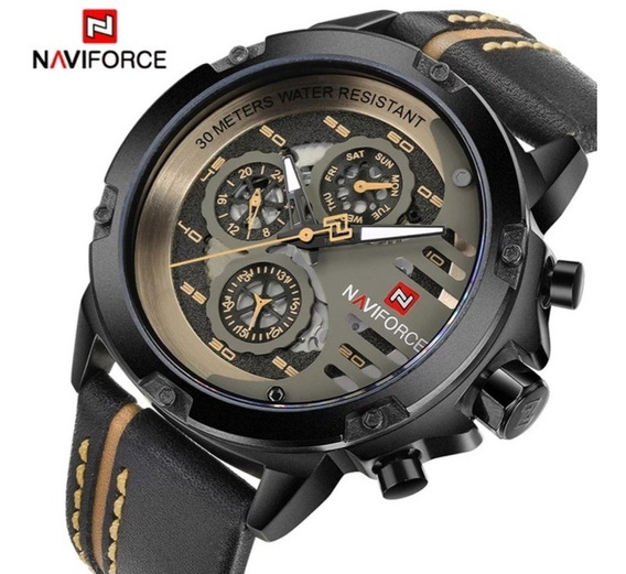 Relógio Masculino Naviforce Nf9110 Pulseira De Couro