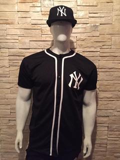 Jersey Casaca De Beisbol Yankees Negra Ny Tallas S M Y L