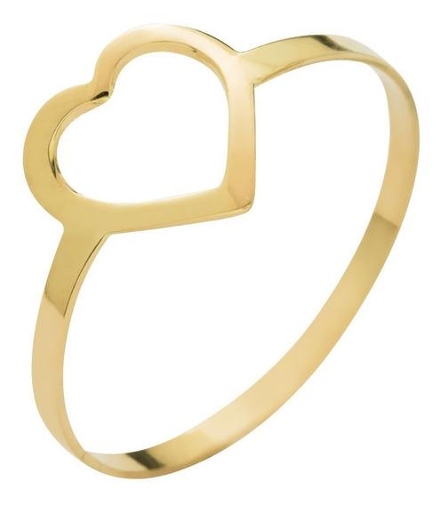 Anel De Ouro 18k 750 Coração Vazado Delicado - Envio Rápido
