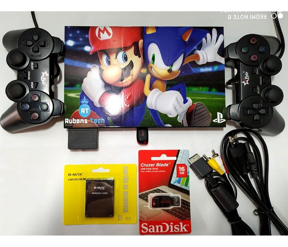 Playstation 2 Ps2 Original Com Opl Usb + 2controles+ Jogos