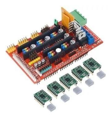 Kit 1 X Placa Ramps 1.4 Reprap + 5 X A4988 Com Dissipador