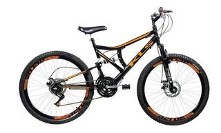 Bicicleta Mtb Kls Full Suspension Gold Aro 26 Freio Disco