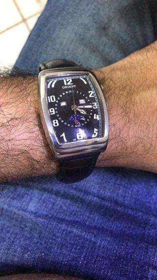 Relógio Oriente Calendário Perpétuo Pulseira De Couro Origin