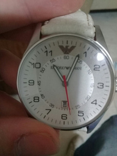 Reloj Emporio Armani Blanco Cuero Real
