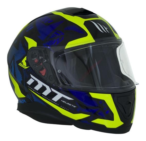 Capacete Mt Helmets Ff102sv Thunder 3 Sv Fg Pret Azul Amarel