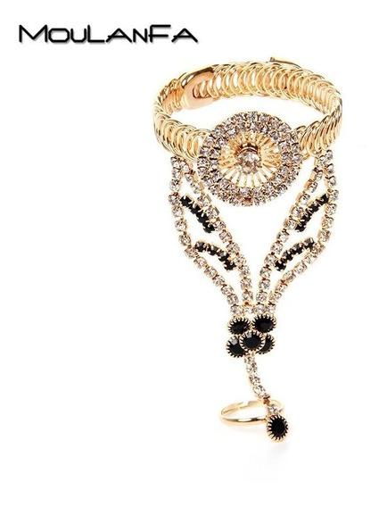 Luxuosa Pulseira Anel Bracelete Dourada Strass Preta Festa
