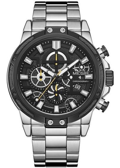 Relógio Masculino Megir Pulseira Aço Cronografo Ms-g