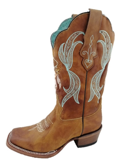 Bota Vaquera Punta Rodeo Para Dama De Piel Marca Nokota Horse Color Miel Con Bordados En Tubo De Flores