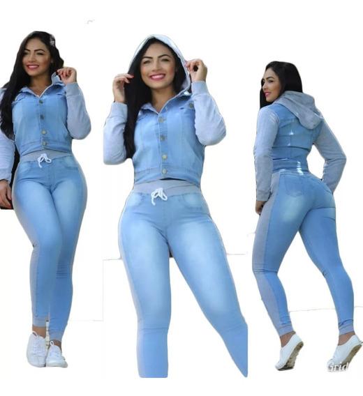 Conjunto Jaqueta E Calça Jeans Feminina Moletom E Capuz Pro