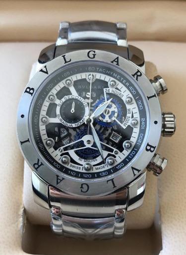 Relógio Masculino Bullgari Esqueleto Fundo Branco