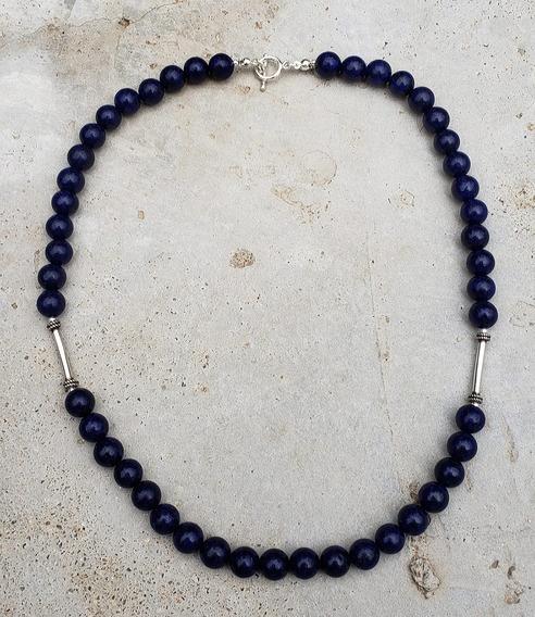 Belíssimo Colar De Lápis Lazuli Com Prata Indiana 925