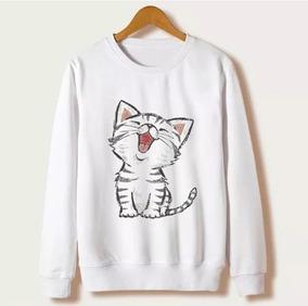 Moletom Blusa Gola Redonda Roupa Feminino Gato Fofo Branco