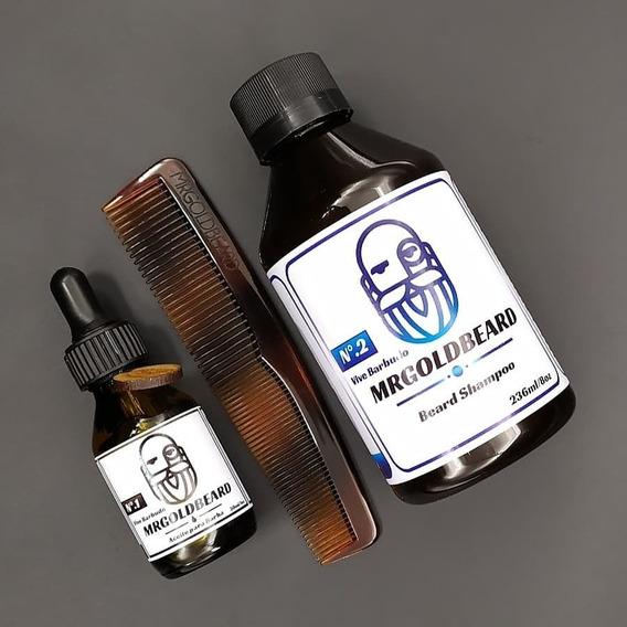 Pack Primer Paso Aceite + Shampoo Para Barba Mrgoldbeard