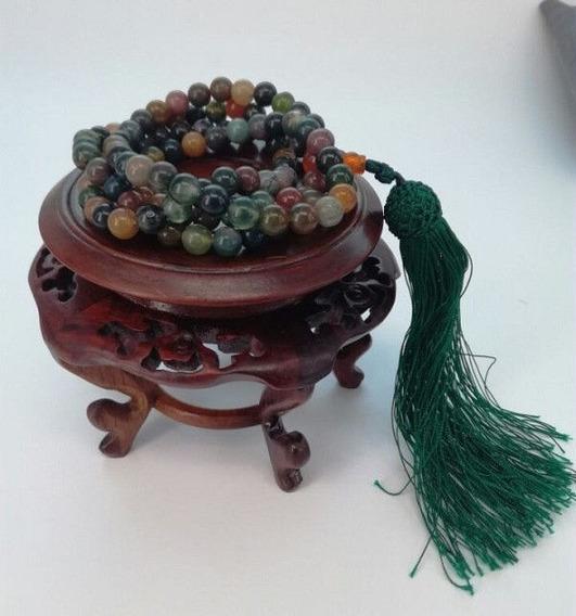 Pulsera Collas Ágata 6 Mm De Oración Budista Tibetano