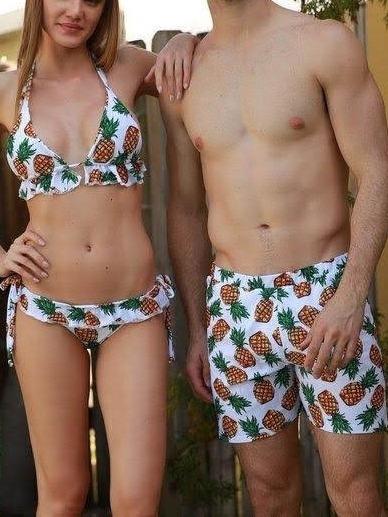 Vestido De Baño Traje Para Parejas Bikini + Pantaloneta