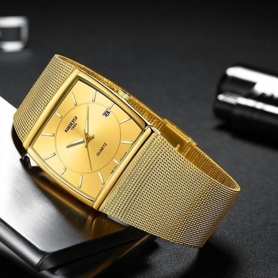 Relógio Unisex Nibosi Original Aço Inox Cronógrafo + Caixa