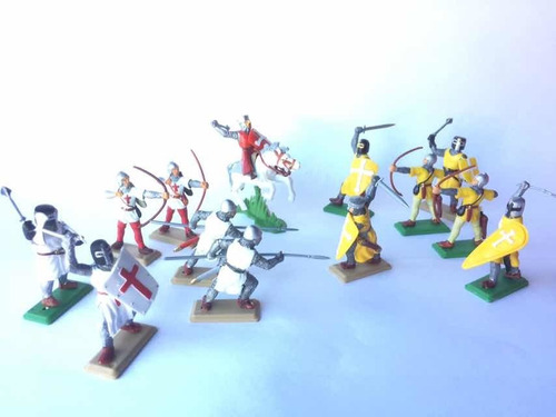 Soldaditos De Plástico Medievales-templarios-cruzados X13