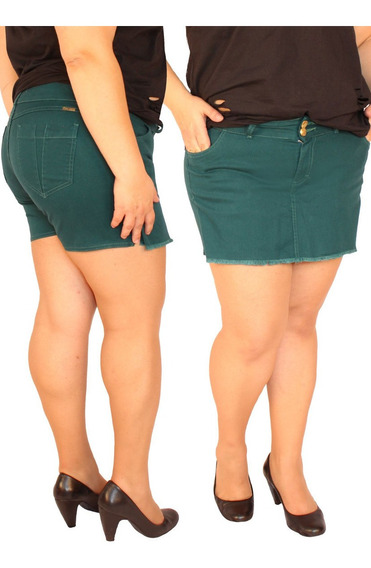 Shorts Saia Em Sarja Com Elastano Plus Size Do 44 Ao 58