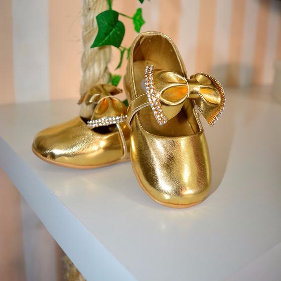 Sapatilha Dourada Infantil De Festa Strass