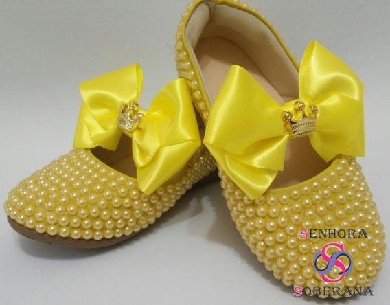 Sapatilha Infantil Amarelo Em Perolas Com Laço (florista)