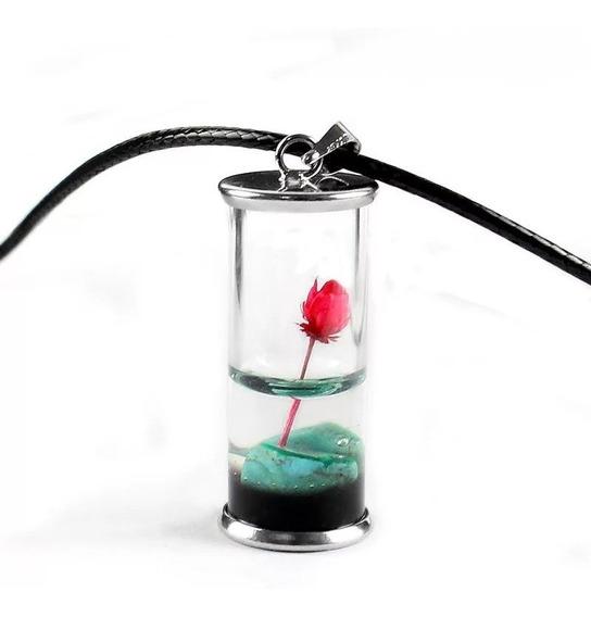 Colar Hippie,mini Flor Natural,cordao,garrafa Vidro,linda D+
