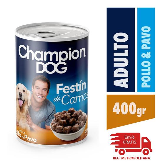 Alimento Perro Champion Dog Pollo Y Pavo 24 Latas 400 Gr