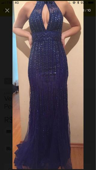 Vestido De Festa Bordado Azul Royal