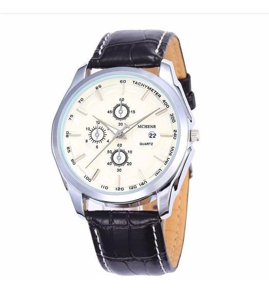 Relógio Masculino Luxo Pulseira De Couro Resistente A Água