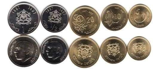 Serie De 5 Monedas De Marruecos Año 1987 Sin Circular