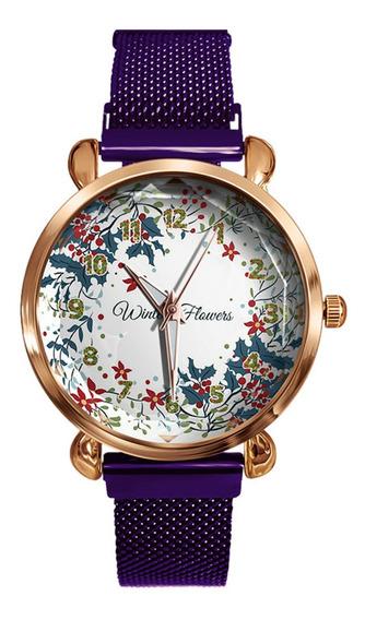 Señora Hojas De Navidad Reloj De Cuarzo Flores De Invierno
