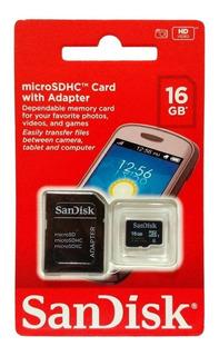 Cartão Memória Micro Sd 16gb Sandisk 2 X 1