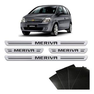 Soleira Da Porta Meriva Chevrolet Prata Resinada Kit 8 Peças