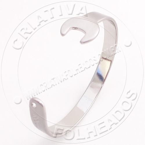 Pulseira Bracelete Chave De Boca Aço Prateada Roui