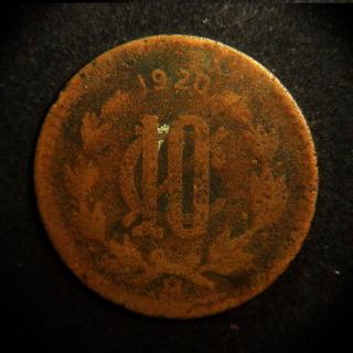Moneda 10 Centavos 1920 Fecha Clave Monograma Bronce