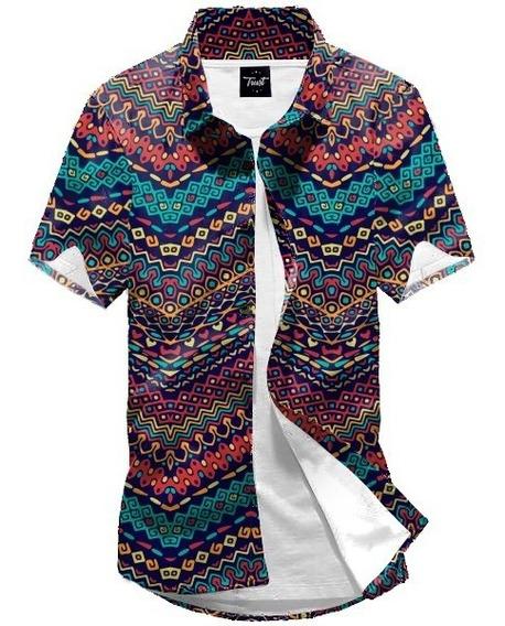 Camisa Botão Floral Étnico Estampada Girassol 90