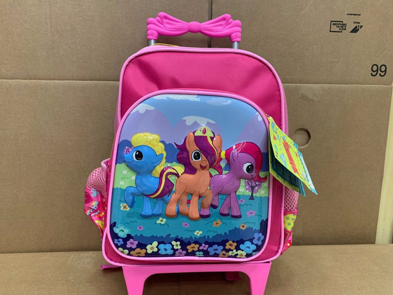 Mochila Infantil My Little Pony C/ Rodinhas Tam P Rosa 3d