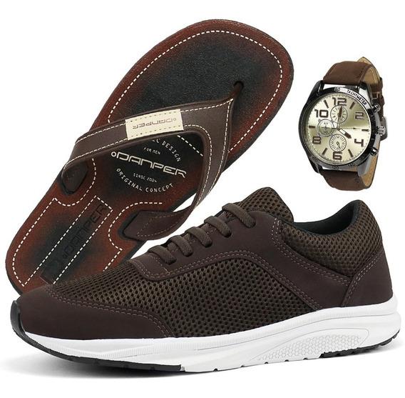 Sapatênis Casual Jogging Sapatofran Hive + Relógio Chinelo