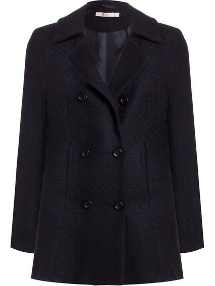 Casaco Blazer Trench Coat Tweed Em Lã Seiki 510168